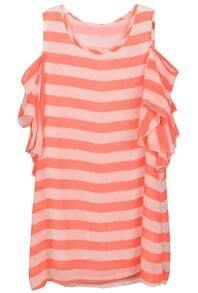 Pink Off the Shoulder Striped Ruffles Dress