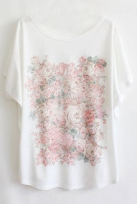 White Batwing Short Sleeve Flowers Print T-Shirt