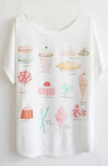White Batwing Short Sleeve Cakes Print T-Shirt