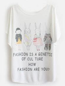 White Batwing Short Sleeve Four Rabbits Print T-Shirt