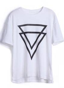 White Short Sleeve Double Triangles Print T-Shirt