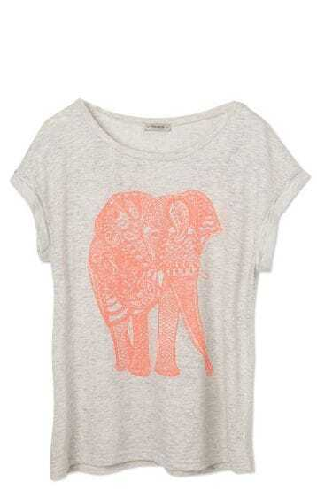 Light Grey Short Sleeve Elephant Print Loose T-Shirt