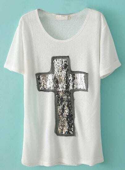 White Short Sleeve Sequined Cross T-Shirt