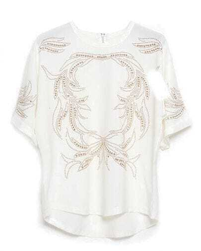 White Half Sleeve Bead Dipped Hem T-Shirt