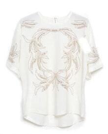 White Half Sleeve Bead Dipped Hem T-Shirt