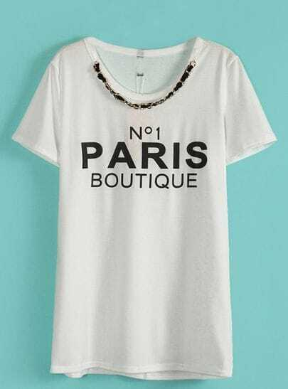 White Chain Embellished Neckline PARIS BOUTIQUE Tee