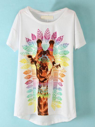 White Short Sleeve Giraffe Print T-Shirt