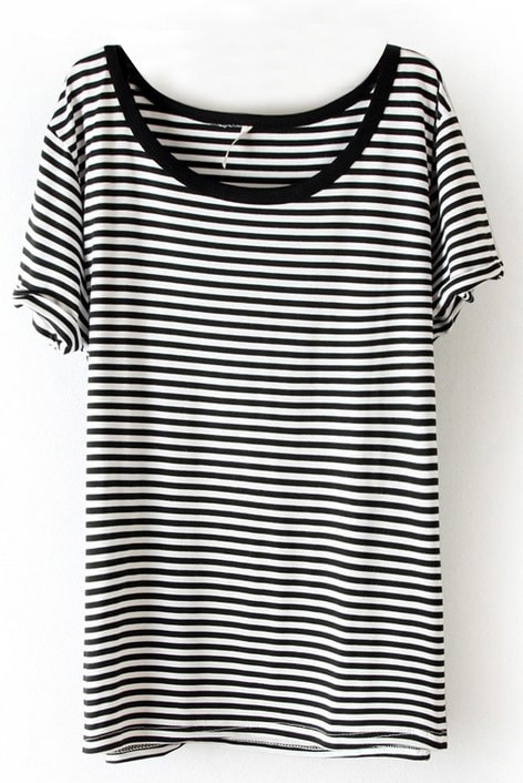 Black White Striped Short Sleeve Slim T-Shirt -SheIn(Sheinside)
