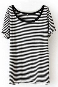 Black White Striped Short Sleeve Slim T-Shirt