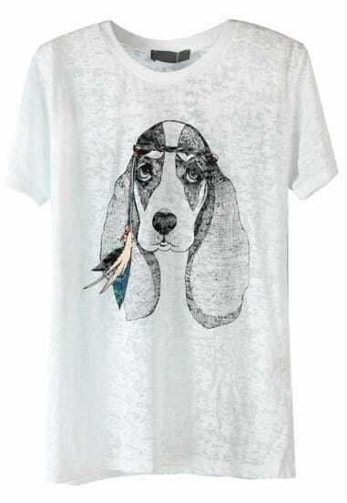 White Short Sleeve Dog Print Loose T-Shirt