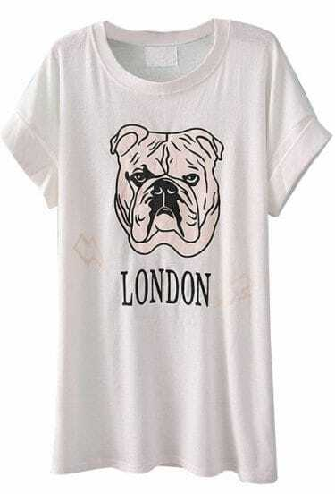 White Short Sleeve Dog LONDON Print T-Shirt