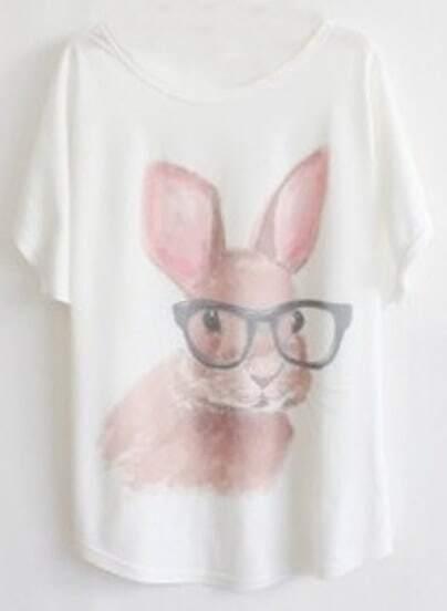 White Short Sleeve Glasses Rabbit Print T-Shirt
