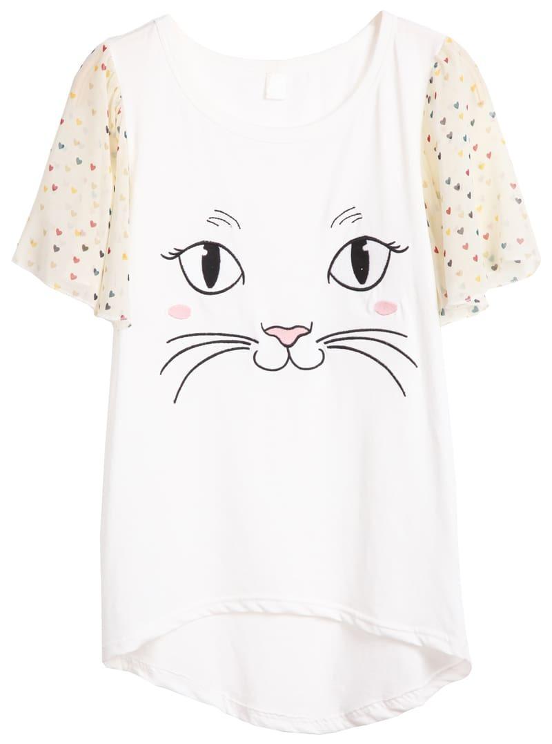 White Short Sleeve Cat Face Print T Shirt SheIn Sheinside