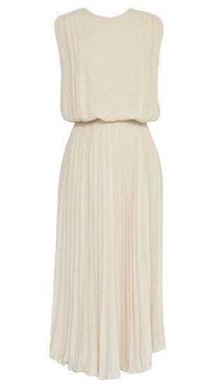 Apricot Sleeveless Back Split Belt Pleated Dress
