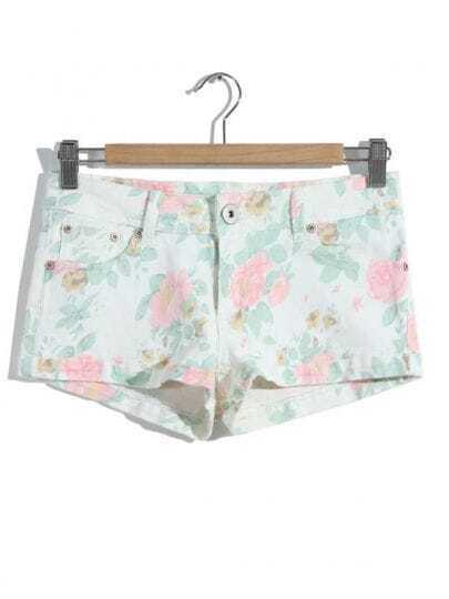 White Buttons Floral Pockets Shorts