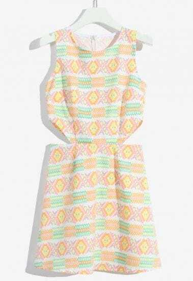 Yellow Sleeveless Geometric Print Hollow Dress