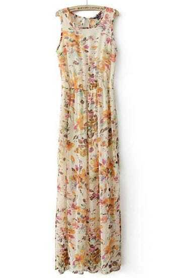 Apricot Sleeveless Floral Pleated Chiffon Sundress