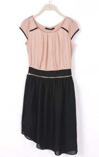 Pink Black Short Sleeve Zipper Detachable Dress