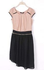Pink Black Short Sleeve Zipper Detachable Dress