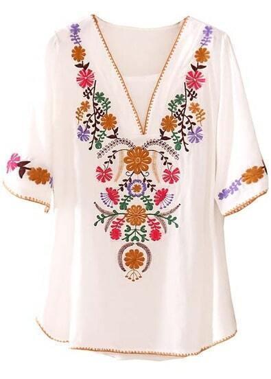 White V Neck Short Sleeve Embroidery Loose Blouse
