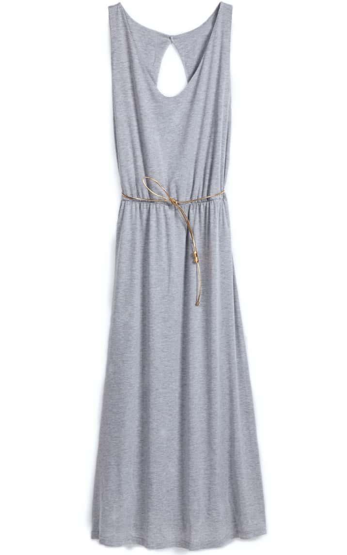 grey sleeveless back hollow belt dress shein sheinside