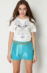 White Short Sleeve Bead Floral Blouse With Blue Shorts