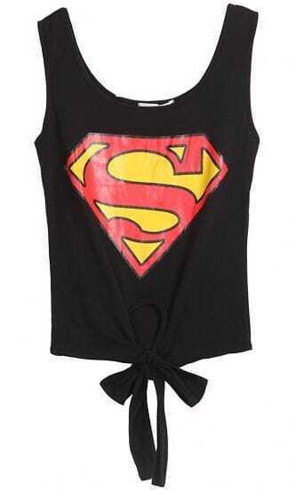 Black Sleeveless Superman Print Bow Vest