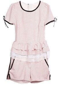 White Pink Short Sleeve Plaid Ruffles Top With Shorts