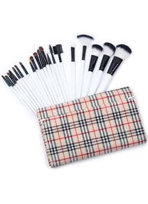20pcs Khaki Plaid Makeup Brush Set