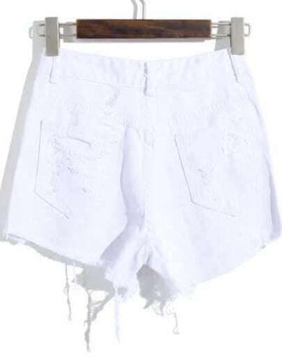 White Pockets Ripped Zipper Denim Shorts -SheIn(Sheinside)