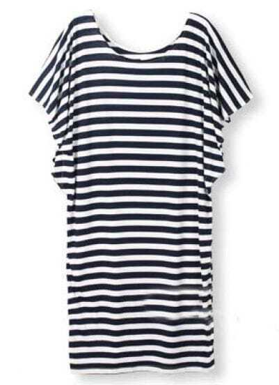 Navy White Batwing Sleeve Striped Loose Dress