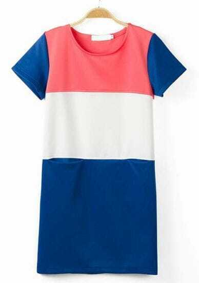 Blue Pink White Short Sleeve Pockets Dress