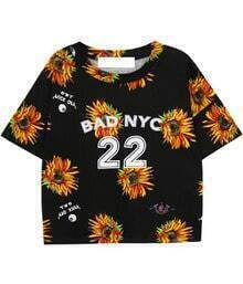 Black Batwing Short Sleeve Daisy 25 Print T-Shirt