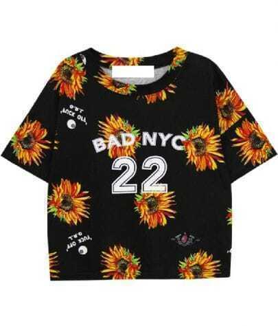Black Batwing Short Sleeve Daisy 25 Print T-Shirt
