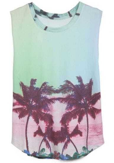 Light Green Gradient Sleeveless Coconut Print T-Shirt