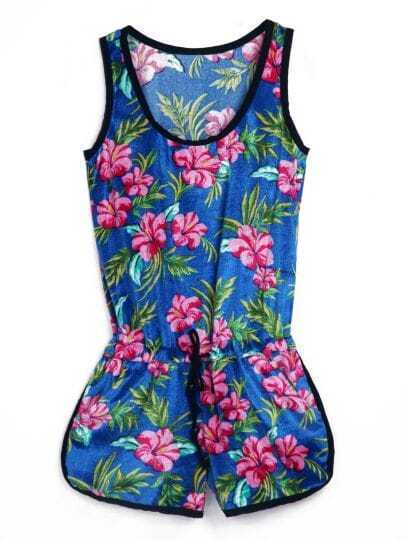 Blue Sleeveless Morning Glory Print Jumpsuit