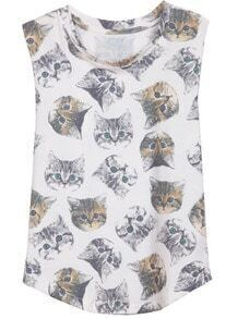 White Sleeveless Cats Print Cotton T-Shirt
