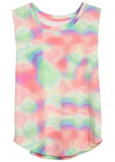 Multi Round Neck Sleeveless Rainbow Print T-Shirt