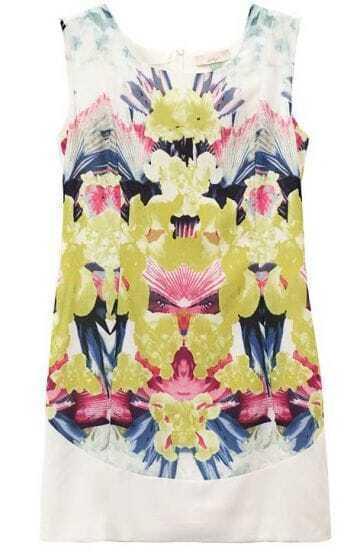 White Sleeveless Back Zipper Symmetry Floral Dress
