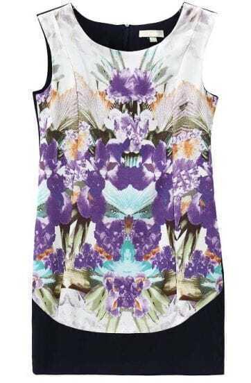 Purple Sleeveless Back Zipper Symmetry Floral Dress