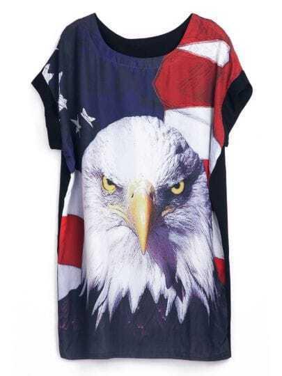 Black Short Sleeve American Flag Eagle Print Dress