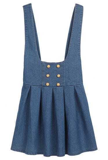 Dark Blue Spaghetti Strap Ruffles Buttons Denim Dress