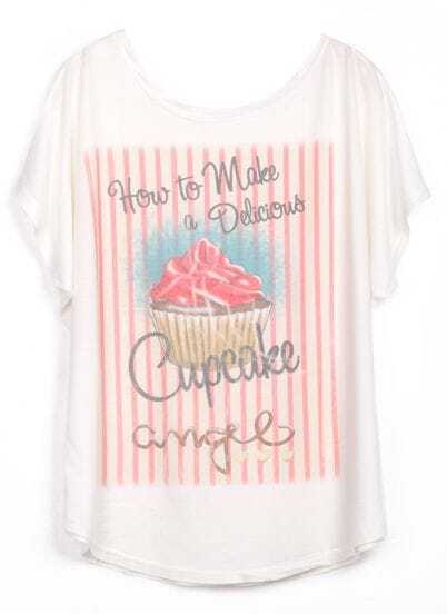 White Short Sleeve Letters Cake Print T-Shirt
