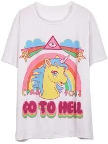 White Short Sleeve Rainbow Horse Print T-Shirt