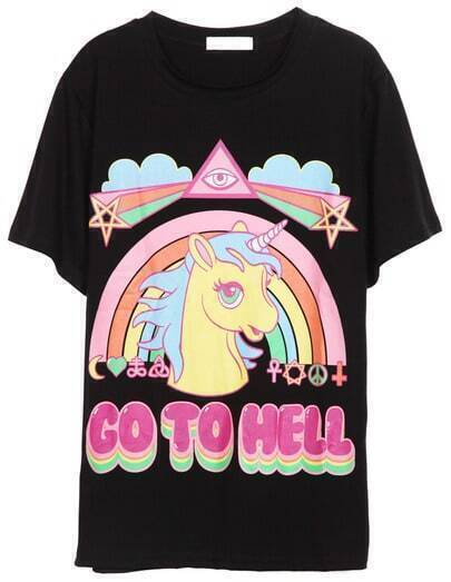 Black Short Sleeve Rainbow Horse Print T-Shirt