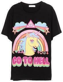 Black Short Sleeve Rainbow Horse Print T-Shirt