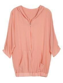 Pink Hooded Half Sleeve Zipper Pockets Jacket