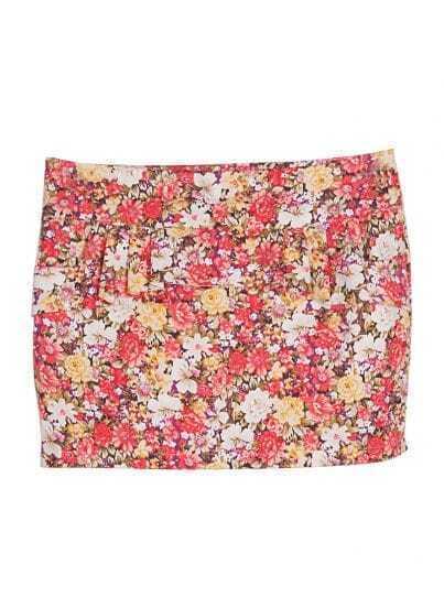 Red Floral Ruffles Bodycon Mini Skirt