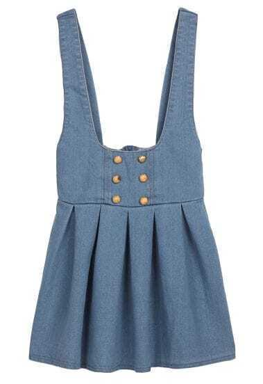 Blue Spaghetti Strap Ruffles Buttons Denim Dress