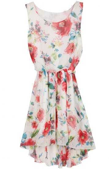 Beige Sleeveless Floral Bandeau High Low Chiffon Dress